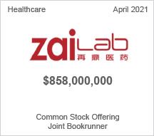 Zailab - $858 million Common Public Offering - Joint Bookrunner