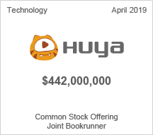 Huya - $442 million Common Stock Offering, Joint Bookrunner