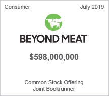 Beyond Meat - $598 million - Common Stock Offering - Joint Bookrunner