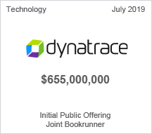 Dynatrace - $655 mllion Initial Public Offering, Joint Bookrunner