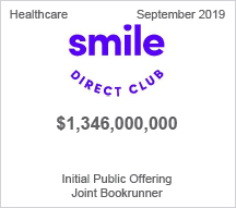 Smile Direct Club - $1.346 billion Initial Public Offering, Joint Bookrunner