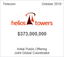 Helios Towers - $373 mllion Initial Public Offering, Joint Global Coordinator