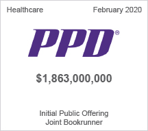 PPD - $1.86 billion Initial Public Offering, Joint Bookrunner