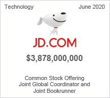 JD.COM - $3.87 billion Common Stock Offering, Joint Global Coordinator and Joint Bookrunner