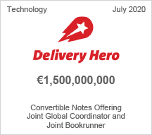 Delivery Hero - €1.5 billion Convertible Notes Offering - Joint Global Coordinator and Joint Bookrunner