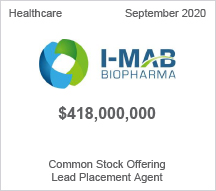 I-MAB - $418 million Common Stock Offering - Lead Placement Agent