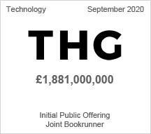 THG - £1.8 billion Initial Public Offering - Joint Bookrunner
