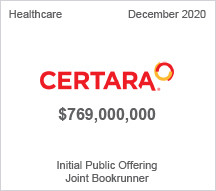 Certara - $769 million Initial Public Offering - Joint Bookrunner