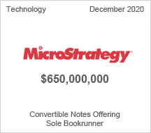 MicroStrategy - $6 million Convertible Notes Offering - Sole Bookrunner