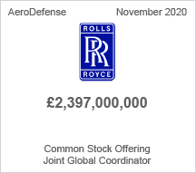Rolls Royce - €2.3 billion Common Stock Offering - Joint Global Coordinator