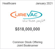 Curevac - $518 million Common Stock Offering - Joint Bookrunner