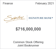 Signature Bank - $ 716 million Common Stock Offering - Active Bookrunner