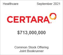 Certara - $713 million Common Stock Offering - Joint Bookrunner