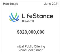 LifeStance - $720 million Initial Public Offering - Joint Bookrunner