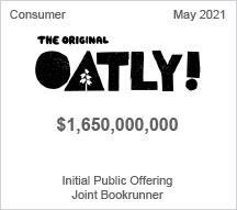 Oatly! - $4.650 billion Initial Stock Offering - Joint Bookrunner