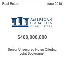 American Campus Communities - $400 million Senior Unsecured Notes Offering - Joint Bookrunner