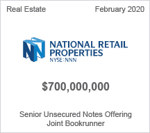 National Retail Properties - $700 million Senior Unsecured Notes Offering - Joint Bookrunner