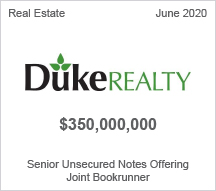 Duke Realty - $350 million Senior Unsecured Notes Offering - Joint Bookrunner