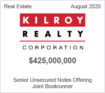 Kilroy Realty - $425 million Senior Unsecured Notes Offering - Joint Bookrunner