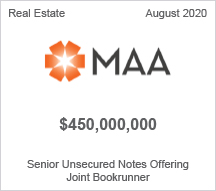 MAA - $450 million Senior Unsecured Notes Offering - Joint Bookrunner