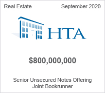HTA - $800 million Senior Unsecured Notes Offering - Joint Bookrunner