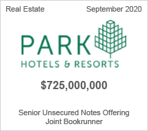 Park Hotels & Resorts - $725 million Senior Unsecured Notes Offering - Joint Bookrunner