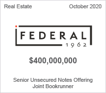 Federal - $400 million Senior Unsecured Notes Offering - Joint Bookrunner