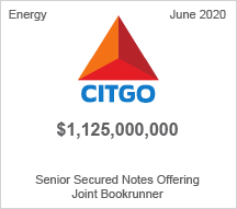 CITGO - $1.25 billion Senior Secured Notes Offering, Joint Bookrunner