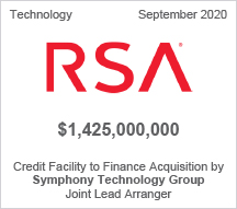RSA - $1.425 billion Credit Facility to Finance Acquisition by Symphony Technology Group - Joint Lead Arranger