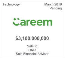 Careem - $3.1 billion Sale to Uber - Sole Financial Advisor
