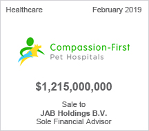 Compassion-First - $1.215 billion Sale to JAB Holdings B.V. - Sole Financial Advisor