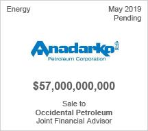 Anadarko $57 billion Sale to Occidental Petroleum - Joint Financial Advisor