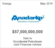 Anadarko - $57 billion Sale to Occidental Petroleum - Joint Financial Advisor