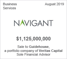 Navigant - $1.125 billion Sale to Guidehouse, a portfolio company of Veritas Capital -Sole Financial Advisor