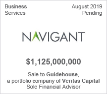 Navigant - $1.125 billion Sale to Guidehouse, a portfolio company of Veritas CapitalSole Financial Advisor