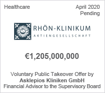 Rhon-Klinikum -  €1,2 billion €1,2 Voluntary Public Takeover Offer by Asklepios Kliniken GmbH - Financial Advisor to the Supervisory Board