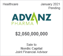 AdvanzPharma - $2.05 billion - Sale to Nordic Capital - Joint Financial Advisor