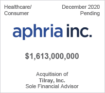 Aphria Inc. - $1.6 billion - Acquitision of Tilray, Inc. - Sole Financial Advisor