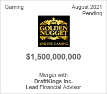 Golden Nugget - $1.5 billion - Merger with DraftKings Inc. - Lead Financial Advisor