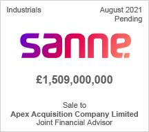 Sanne - £1,5 billion - Sale to Apex Acquisition Company Limited - Joint Financial Advisor