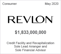 Revlon - $8 billion Credit Facility and Recapitalization - Sole Lead Arranger and Sole Financial Advisor