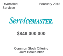 Servicemaster $ 848 million Common Stock Offering