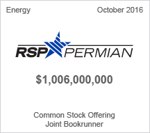 RSP Permian $1 billion Common Stock Offering - Joint Bookrunner