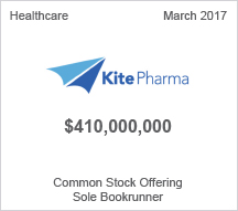 KitePharma $410 million Common Stock Offering