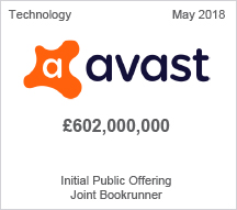 Avast - £602 million Initial Public Offering Joint Bookrunner