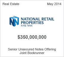 National Retail Properties $350 million Senior Unsecured Notes Offering