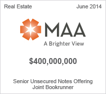 MAA $400 million Senior Unsecured Notes Offering