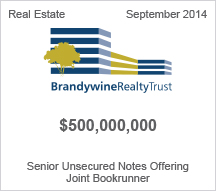 Brandywine Realty Trust $500 million Senior Unsecured Notes Offering