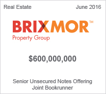 Brixmore Property Group $600 million Senior Unsecured Notes Offering