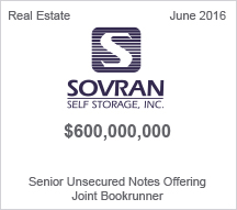 Sovran Self Storage, Inc. $6 million Senior Unsecured Notes Offering